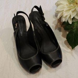 Donald J. Pliner Black Leather Wedges Sz 8.5